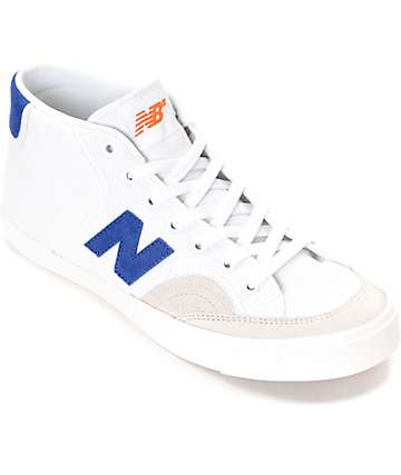 New Balance 213 Pro Court White & Royal Blue Mid-Top Shoes