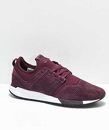 New Balance Numeric 247 Burgundy & White Suede Shoes