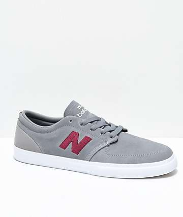 New Balance Numeric 345 Grey & Burgundy Skate Shoes