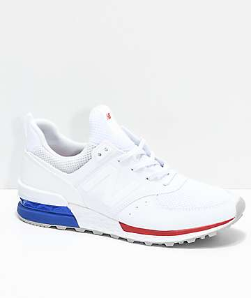New Balance Numeric 574 Sport White, Blue & Red Shoes