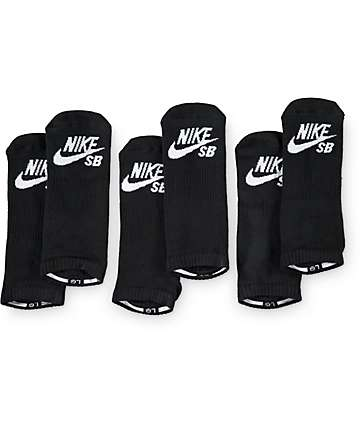 Nike SB 3 Pack Black No Show Socks