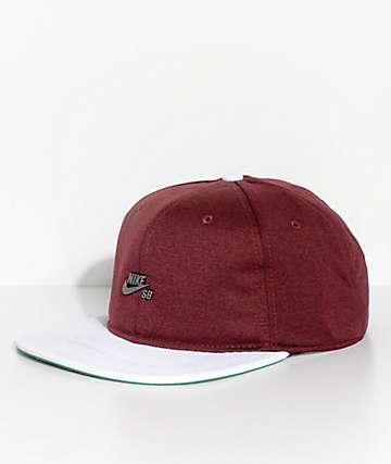Nike SB AeroBill Dri-Fit Burgundy & White Strapback Hat