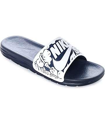 Nike SB Benassi Solarsoft Navy & White Floral Print Sandals