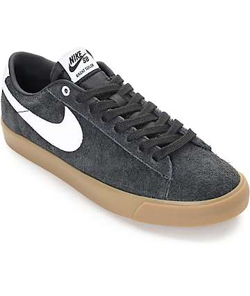 Nike SB Blazer Low GT Black & Gum Suede Skate Shoes