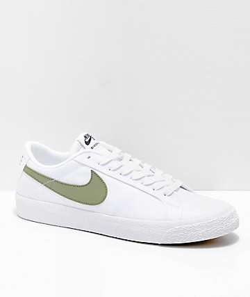Nike SB Blazer Zoom Low White & Palm Canvas Skate Shoes