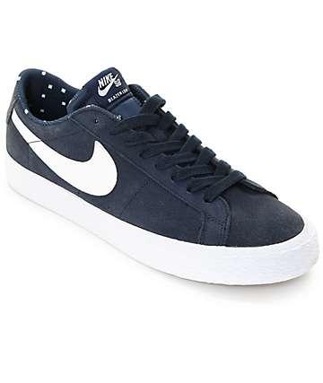 Nike SB Blazer Zoom Obsidian & White Suede Skate Shoes