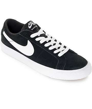 Nike SB Blazer Zoom zapatos de skate de ante en blanco y negro