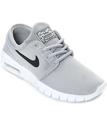 Nike SB Boys Janoski Air Max Wolf Grey & White Skate Shoes