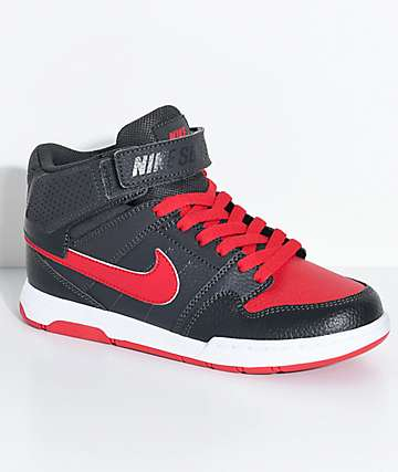 Nike SB Boys Mogan Mid 2 Anthracite & University Red Skate Shoes