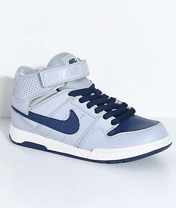 Nike SB Boys Mogan Mid 2 Wolf Grey & Midnight Navy Skate Shoes
