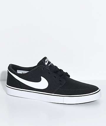 Nike SB Boys Portmore II Black & White Canvas Skate Shoes
