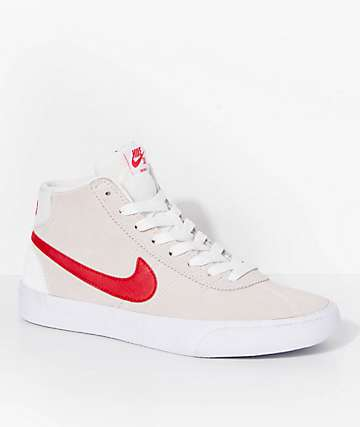 Nike SB Bruin Hi Summit White & University Red Skate Shoes