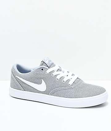 Nike SB Check Solarsoft Grey and White Skate Shoes