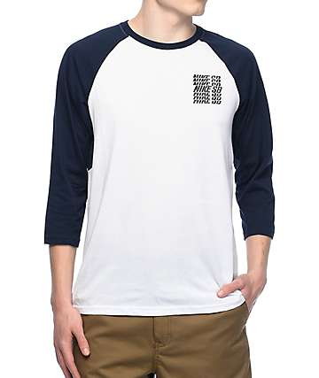 Nike SB Dri-Fit GFX White & Navy Baseball T-Shirt