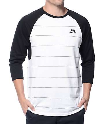 Nike SB Dri-Fit Stripe White & Black Baseball T-Shirt