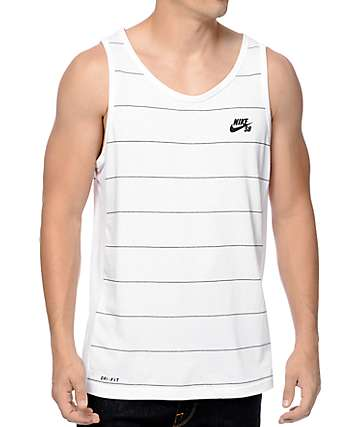 Nike SB Dri-Fit Stripe White Tank Top
