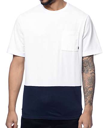 Nike SB Dri-Fit White & Navy Henley Pocket T-Shirt