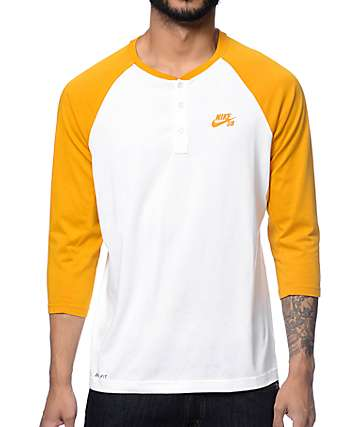 Nike SB Dri-Fit White & Yellow Henley Baseball T-Shirt