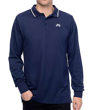 Nike SB Dry Obsidian Long Sleeve Polo T-Shirt