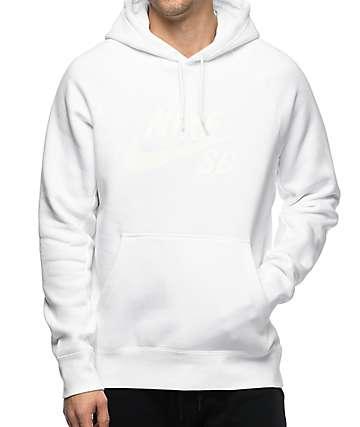 Nike SB Icon sudadera blanca con capucha