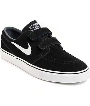 Nike SB Janoski AC Black & White Hook and Loop Fastener Skate Shoes