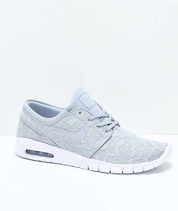 Nike SB Janoski Air Max Wolf Grey & White Skate Shoes