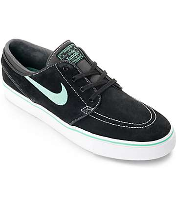 Nike SB Janoski Black & Green Glow Suede Skate Shoes