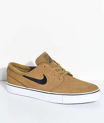 Nike SB Janoski Golden Beige & White Suede Skate Shoes