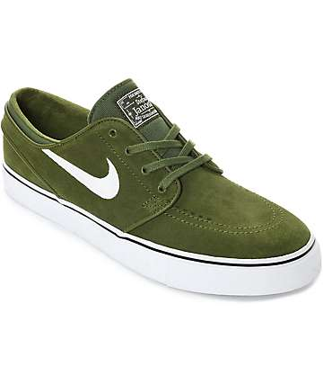 Nike SB Janoski Legion Green & White Suede Skate Shoes