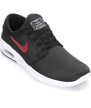 Nike SB Janoski Max Black, Team Red, & White Shoes