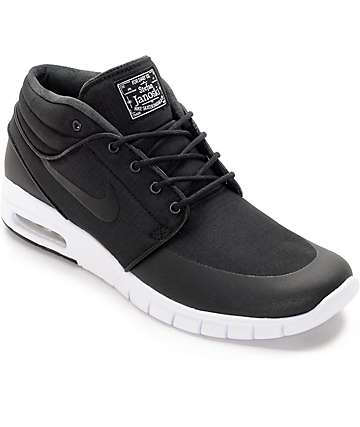 Nike SB Janoski Max Mid Black & White Skate Shoes