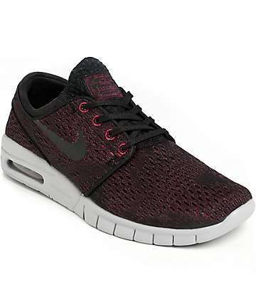 Nike SB Janoski Max Villain Red, Black, & Wolf Grey Shoes