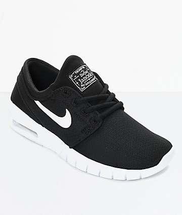 Nike SB Janoski Max zapatos de skate en blanco y negro para niños