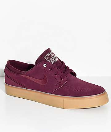 Nike SB Janoski Night Maroon & Gum Suede Skate Shoes