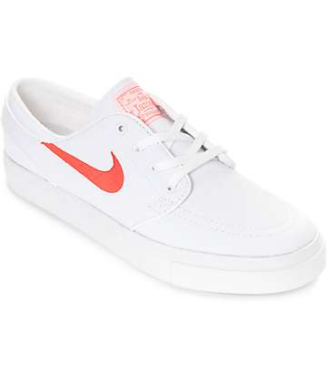 Nike SB Janoski White & Max Orange Canvas Skate Shoes