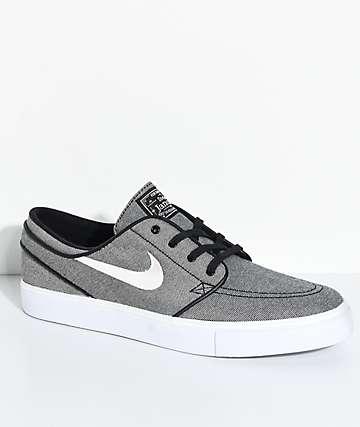 Nike SB Janoski zapatos de skate de lienzo en gris y blanco