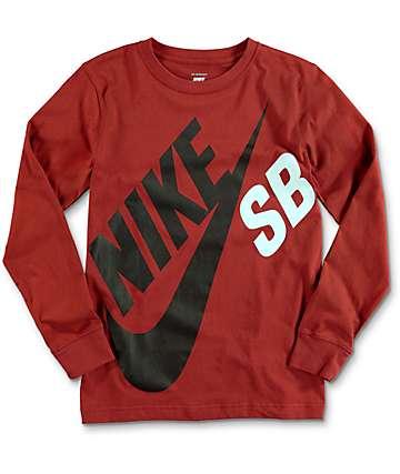 Nike SB Logo camiseta roja de manga larga para niños