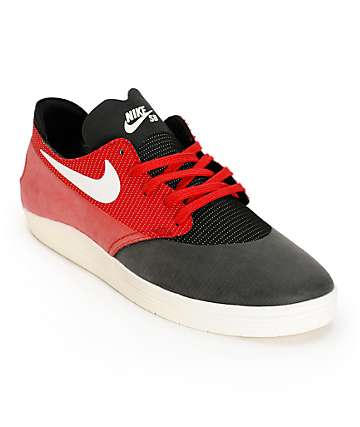 Nike SB Lunar Oneshot Black, Ivory, & Gym Red Skate Shoes