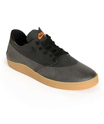 Nike SB Lunar Oneshot Black & Gum Skate Shoes