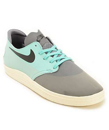 Nike SB Lunar Oneshot Cool Grey & Turquoise Skate Shoes