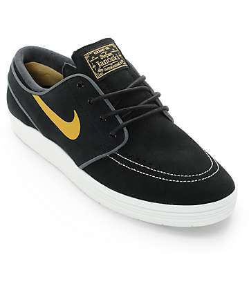 Nike SB Lunar Stefan Janoski Black & Metallic Gold Skate Shoes