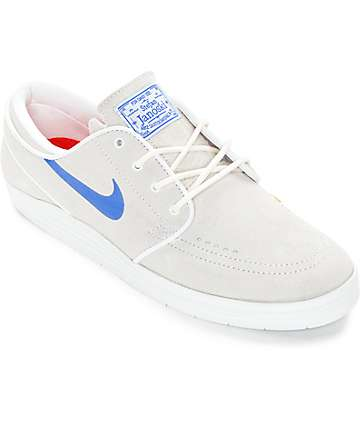 Nike SB Lunar Stefan Janoski Summit White & Royal Blue Skate Shoes
