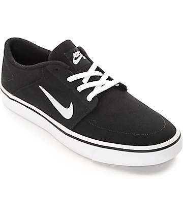 Nike SB Portmore Black & White Canvas Skate Shoes