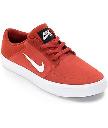 Nike SB Portmore Cayenne & White Boys Skate Shoes