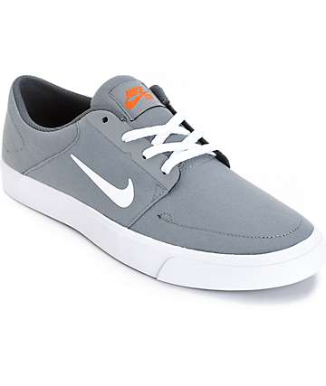 Nike SB Portmore Cool Grey, White & Orange Skate Shoes