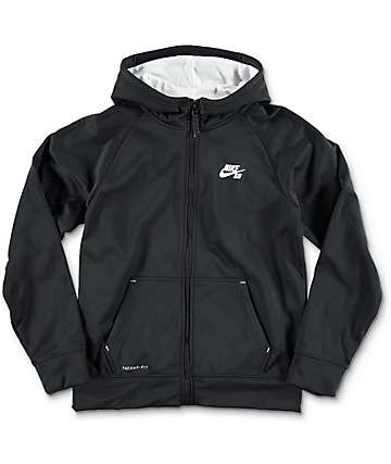 Nike SB Solid Therma-Fit Black Boys Zip Up Hoodie