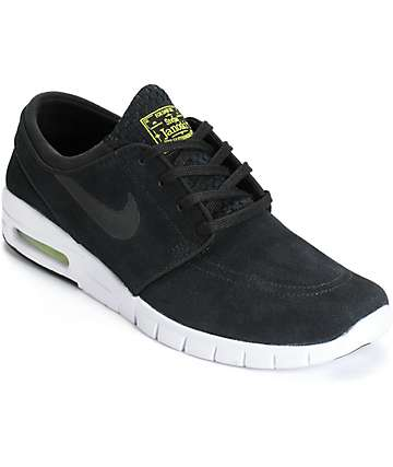 Nike SB Stefan Janoski Air Max Black, Cyber, & White Shoes
