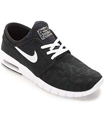 Nike SB Stefan Janoski Air Max Black & White Skate Shoes