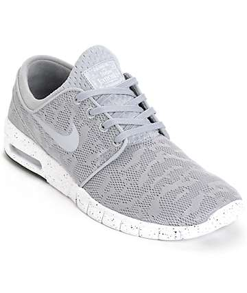 Nike SB Stefan Janoski Air Max Wolf Grey & White Mesh Shoes