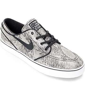 Nike SB Stefan Janoski Cobra Premium Txt Black & White Skate Shoes